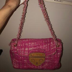 RARE Authentic PRADA Pink Tweed/Leather Bag